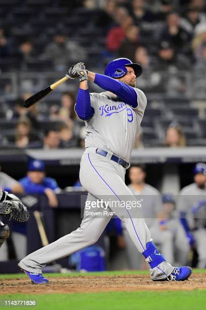Lucas Duda of the Kansas City Royals at bat against the New York Yankees at Yankee Stadium on April 18, 2019 in New York City. The Royals defeated...