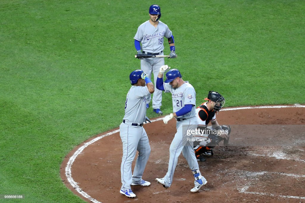 Lucas Duda #21 of the Kansas City Royals celebrates with Salvador Perez #19 after hitting a two RBI home run against the Baltimore Orioles in the fourth inning at Oriole Park at Camden Yards on May 9, 2018 in Baltimore, Maryland.
