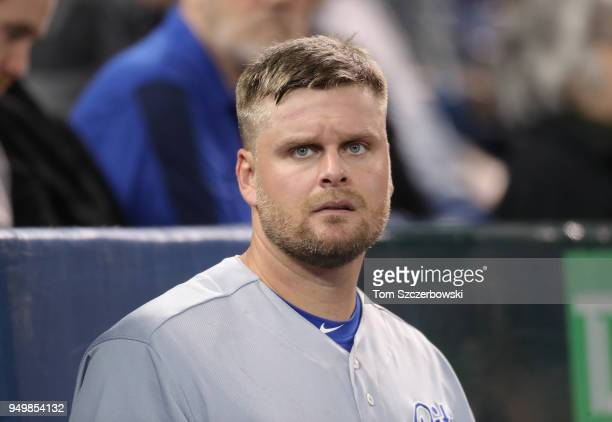Lucas Duda of the Kansas City Royals looks on from the dugout as he gets ready to bat during MLB game action against the Toronto Blue Jays at Rogers...