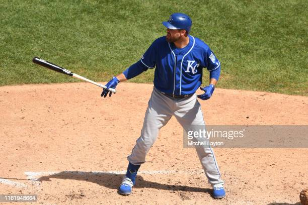 Lucas Duda of the Kansas City Royals prepares for a pitch during a baseball game against the Washington Nationals at Nationals Park on July 7, 2019...