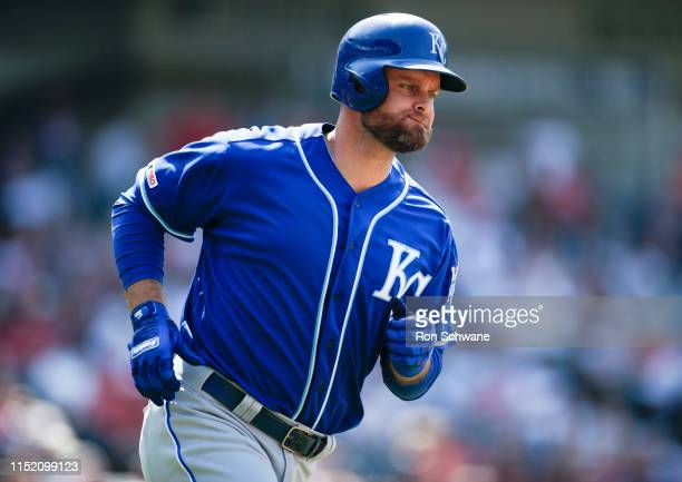 Lucas Duda of the Kansas City Royals rounds the bases after hitting a solo home run off of Nick Wittgren of the Cleveland Indians during the ninth...