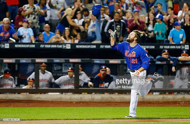 Lucas Duda of the New York Mets celebrates his ninth inning game winning two run home run against the Houston Astros at Citi Field on September 27,...