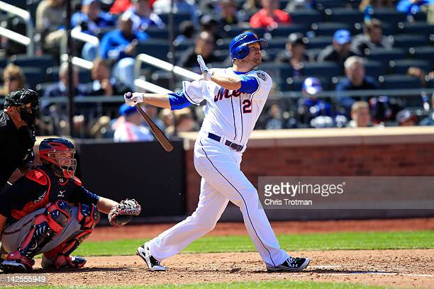 Lucas Duda of the New York Mets hits a home run in the 4th inning against the Atlanta Braves at Citi Field on April 7, 2012 in the Flushing...