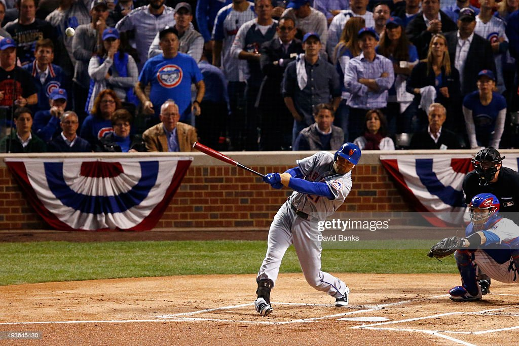Lucas Duda #21 of the New York Mets hits a three run home run in the first inning against Jason Hammel #39 of the Chicago Cubs during game four of the 2015 MLB National League Championship Series at Wrigley Field on October 21, 2015 in Chicago, Illinois.