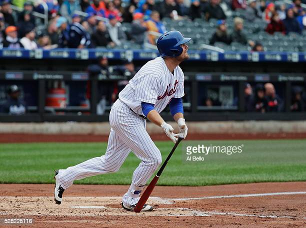 Lucas Duda of the New York Mets hits a two run home run in the third inning against the Atlanta Braves during their game at Citi Field on May 4 2016...