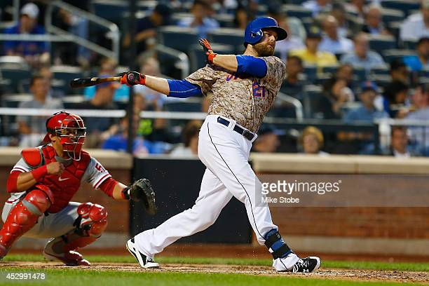 Lucas Duda of the New York Mets in action against the Philadelphia Phillies on July 28, 2014 at Citi Field in the Flushing neighborhood of the Queens...