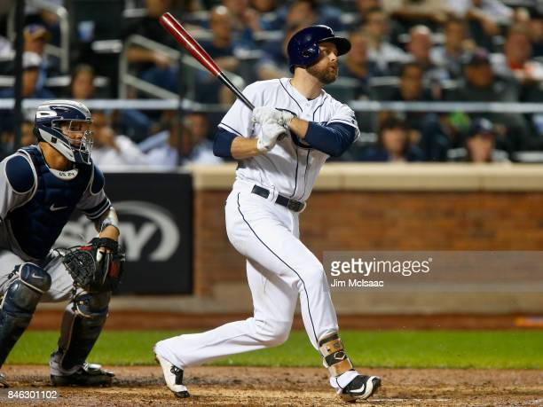 Lucas Duda of the Tampa Bay Rays in action against the New York Yankees at Citi Field on September 12, 2017 in the Flushing neighborhood of the...