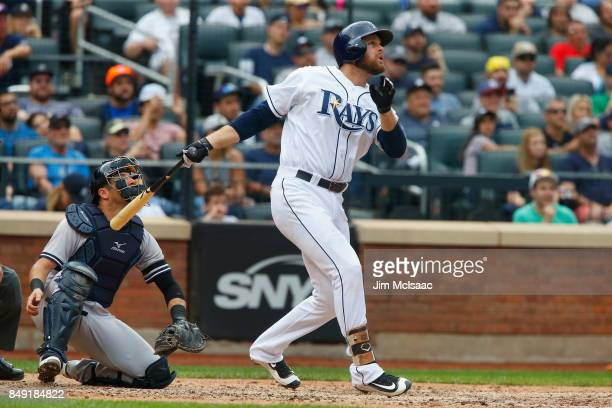Lucas Duda of the Tampa Bay Rays in action against the New York Yankees at Citi Field on September 13, 2017 in the Flushing neighborhood of the...