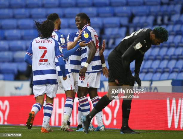 Lucas Eduardo Santos Joao of Reading celebrates after scoring the third goal from the penalty spot during the Sky Bet Championship match between...