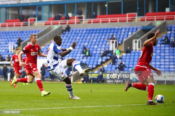 Lucas Eduardo Santos Joao of Reading scores his team's third goal during the Sky Bet Championship match between Reading and Bristol City at Madejski...