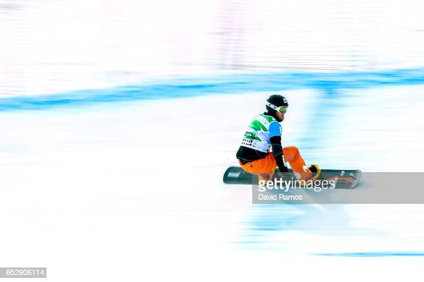 Lucas Egibar of Spain competes during the semifinal of the Men's Team Snowboard Cross Finals on day six of the FIS Freestyle Ski and Snowboard World...