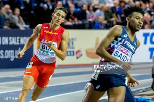 BUA Lucas ESP competing in the 400m Men Final event during day TWO of the European Athletics Indoor Championships 2019 at Emirates Arena in Glasgow...