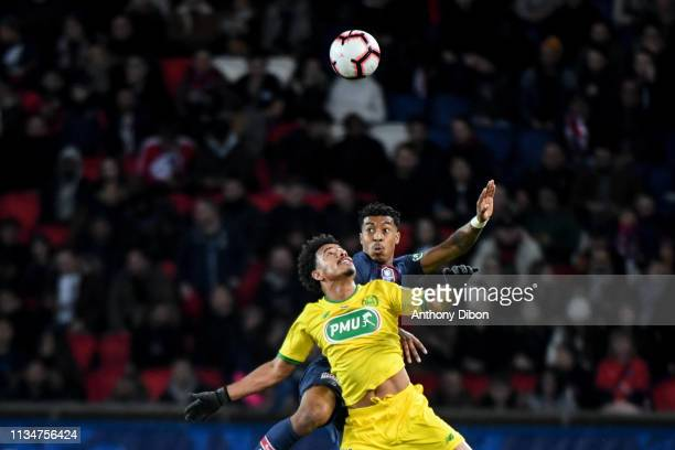 Lucas Evangelista of Nantes and Presnel Kimpembe of PSG during the French Cup match between Paris Saint Germain and Nantes at Parc des Princes on...