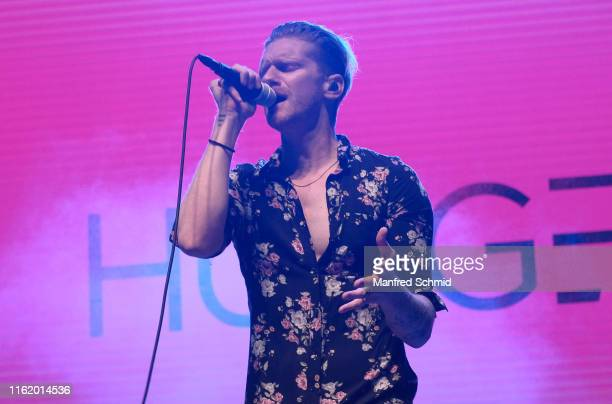 Lucas Fendrich of Hunger performs on stage during the Hafen Open Air 2019 at Alberner Hafen on August 16 2019 in Vienna Austria