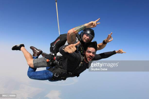 Lucas Fernandes captured in freefall while tandem skydiving in Dubai United Arab Emirates on June 29 2018