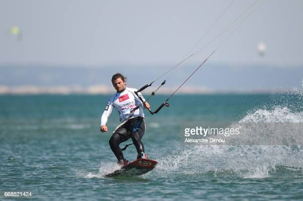 Lucas Ferreira of France competes in the WKL Kiteboarding World Cup 2017 freestyle qualifiers on April 14 2017 in Leucate France