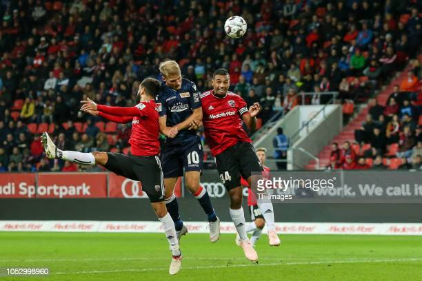 Lucas Galvao of FC Ingolstadt Marvin Job Matip of FC Ingolstadt and Sebastian Andersson of Union Berlin battle for the ball during the Second...