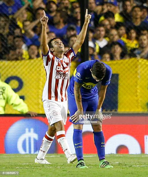 Lucas Gamba of Union celebrates after scoring the first goal of his team during a match between Boca Juniors and Union as part of Torneo de...