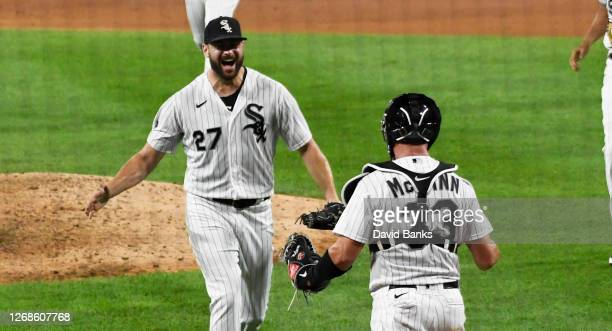 Lucas Giolito of the Chicago White Sox celebrates his no-hitter against the Pittsburgh Pirates on August 25, 2020 in Chicago, Illinois.