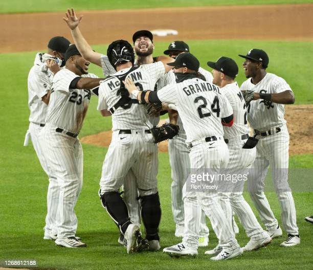 Lucas Giolito of the Chicago White Sox celebrates with teammates after recording the final out of his no-hitter against the Pittsburgh Pirates on...