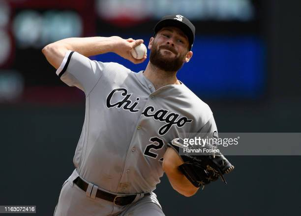 Lucas Giolito of the Chicago White Sox delivers a pitch against the Minnesota Twins during the third inning of the game on August 21, 2019 at Target...