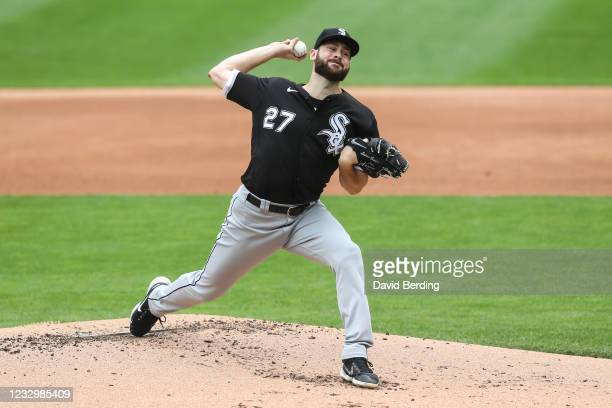 Lucas Giolito of the Chicago White Sox delivers a pitch against the Minnesota Twins in the first inning of the game at Target Field on May 19, 2021...