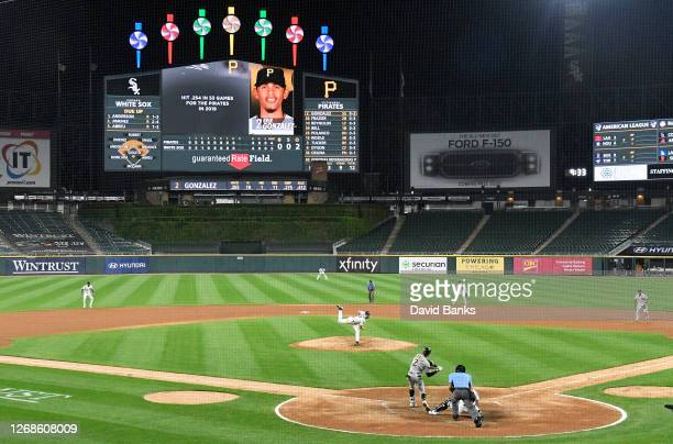 Lucas Giolito of the Chicago White Sox faces Erik Gonzalez of the Pittsburgh Pirates with two outs in the ninth inning on August 25, 2020 in Chicago,...