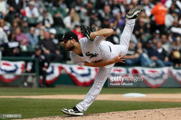 Lucas Giolito of the Chicago White Sox follows through on a pitch against the Seattle Mariners during the third inning at Guaranteed Rate Field on...