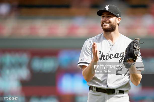 Lucas Giolito of the Chicago White Sox looks on after defeating the Minnesota Twins in the game on August 21, 2019 at Target Field in Minneapolis,...
