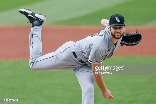 Lucas Giolito of the Chicago White Sox pitches against the Cleveland Indians during the first inning at Progressive Field on September 23, 2020 in...
