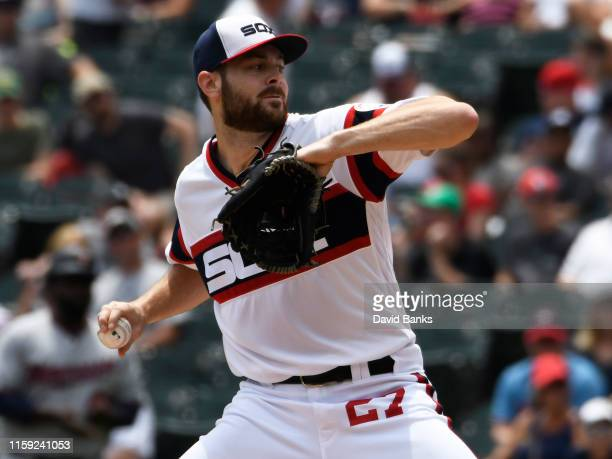 Lucas Giolito of the Chicago White Sox pitches against the Minnesota Twins during the first inning at Guaranteed Rate Field on June 30, 2019 in...