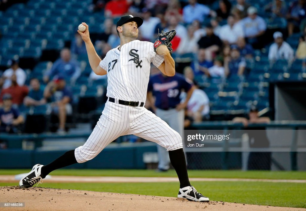 Lucas Giolito #27 of the Chicago White Sox pitches against the Minnesota Twins during the first inning at Guaranteed Rate Field on August 22, 2017 in Chicago, Illinois.
