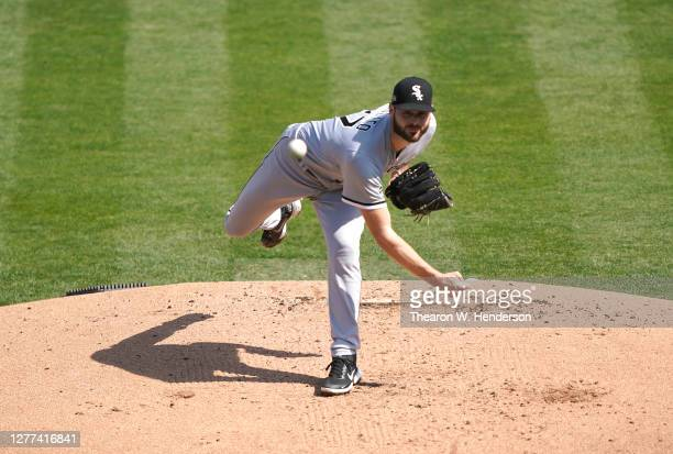 Lucas Giolito of the Chicago White Sox pitches against the Oakland Athletics during the first inning of the Wild Card Round Game One at RingCentral...