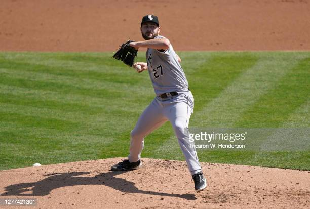 Lucas Giolito of the Chicago White Sox pitches against the Oakland Athletics during the second inning of the Wild Card Round Game One at RingCentral...