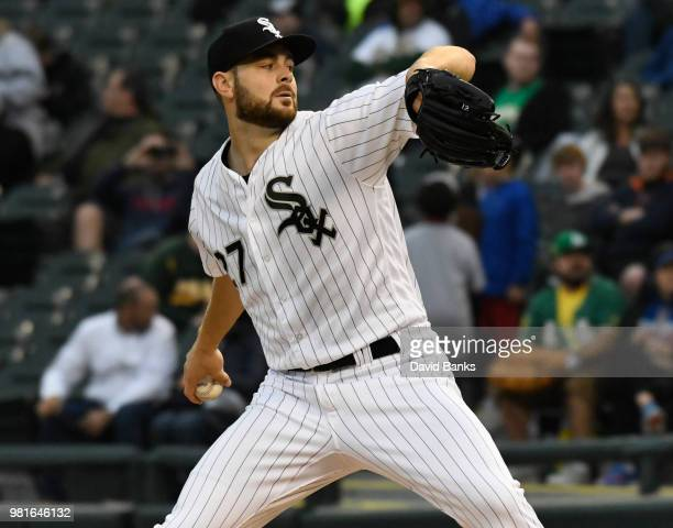 Lucas Giolito of the Chicago White Sox pitches against the Oakland Athletics during the first inning in game two of a doubleheader on June 22, 2018...
