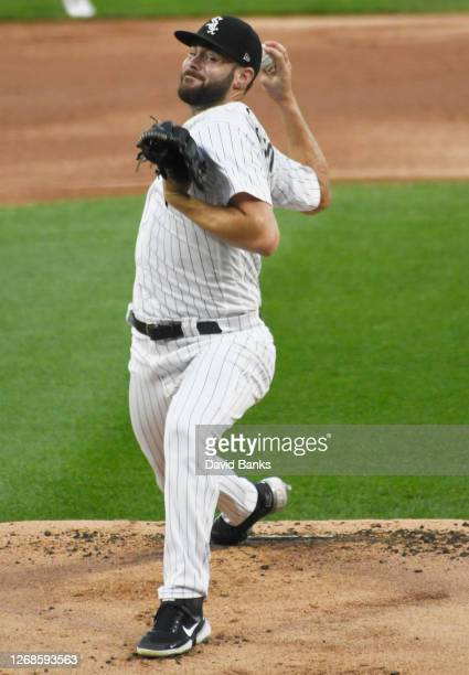 Lucas Giolito of the Chicago White Sox pitches against the Pittsburgh Pirates during the first inning at Guaranteed Rate Field on August 25, 2020 in...