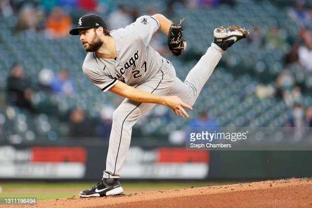 Lucas Giolito of the Chicago White Sox pitches against the Seattle Mariners in the first inning at T-Mobile Park on April 06, 2021 in Seattle,...