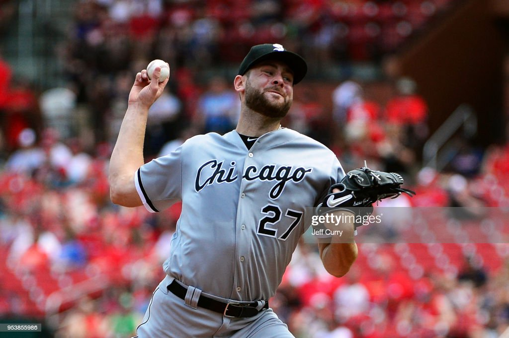 Lucas Giolito #27 of the Chicago White Sox pitches during the third inning against the St. Louis Cardinals at Busch Stadium on May 2, 2018 in St Louis, Missouri.