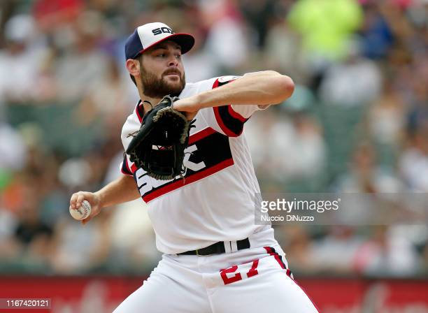 Lucas Giolito of the Chicago White Sox pitches in the first inning during the game against the Oakland Athletics at Guaranteed Rate Field on August...