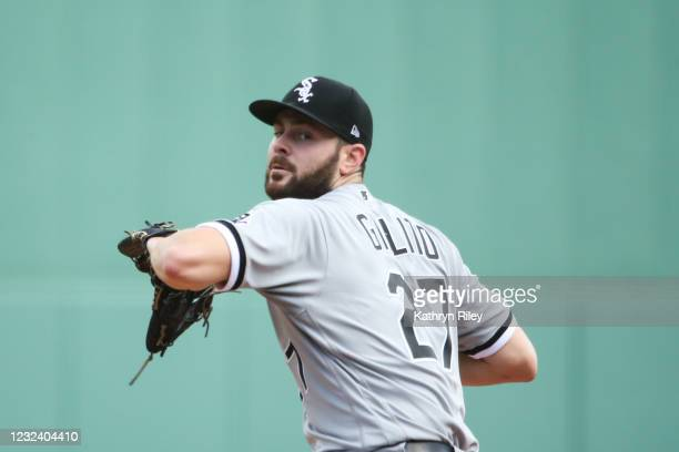 Lucas Giolito of the Chicago White Sox pitches in the second inning against the Boston Red Sox at Fenway Park on April 19, 2021 in Boston,...