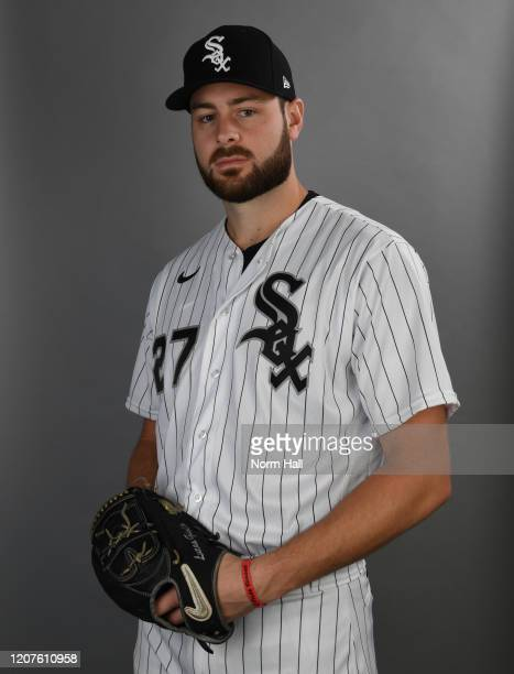 Lucas Giolito of the Chicago White Sox poses during MLB Photo Day on February 20, 2020 in Glendale, Arizona.