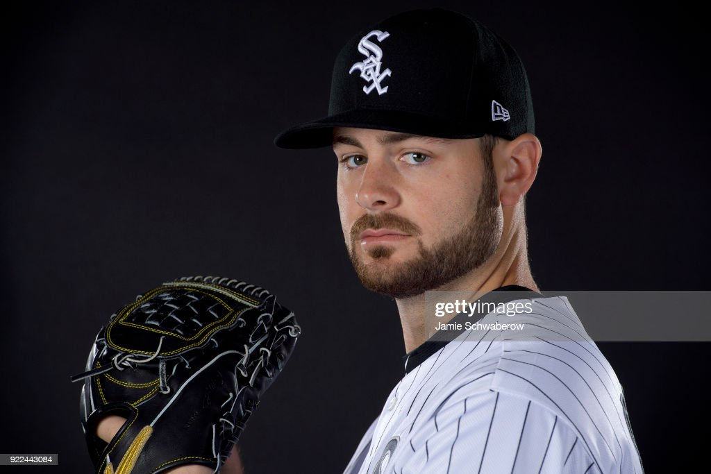 Lucas Giolito #27 of the Chicago White Sox poses during MLB Photo Day on February 21, 2018 in Glendale, Arizona.