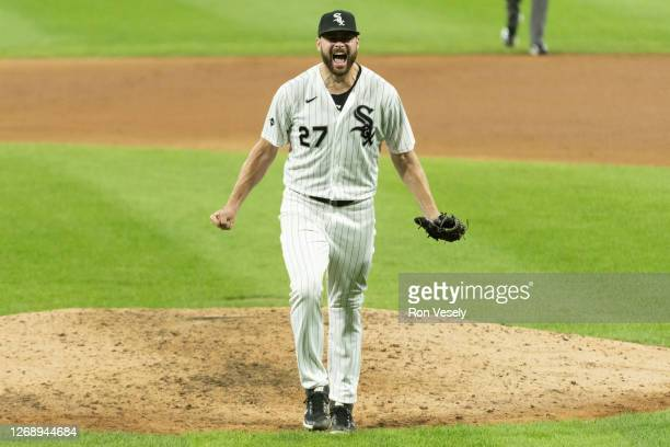 Lucas Giolito of the Chicago White Sox reacts after recording the final out of his no-hitter after Erik Gonzalez of the Pittsburgh Pirates flied out...