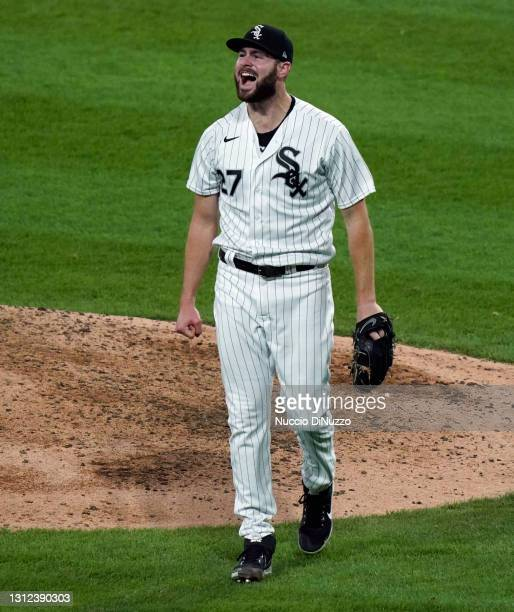 Lucas Giolito of the Chicago White Sox reacts after striking out Jake Bauers of the Cleveland Indians during the seventh inning of a game at...