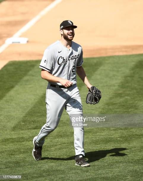 Lucas Giolito of the Chicago White Sox reacts after the final out of the seventh inning of their game against the Oakland Athletics in game one of...