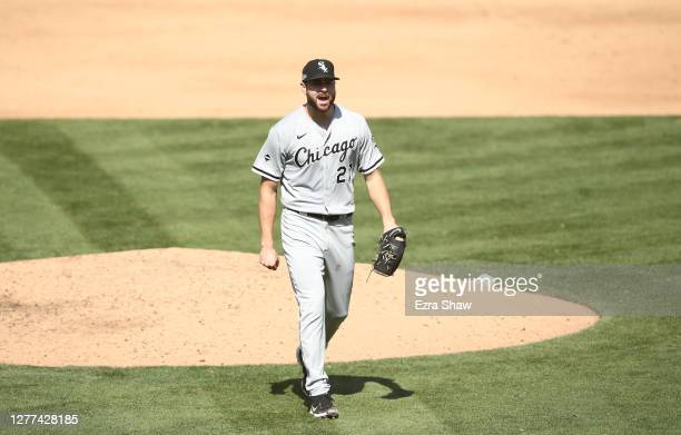 Lucas Giolito of the Chicago White Sox reacts as he walks back to the dugout after the sixth inning of their game against the Oakland Athletics of...