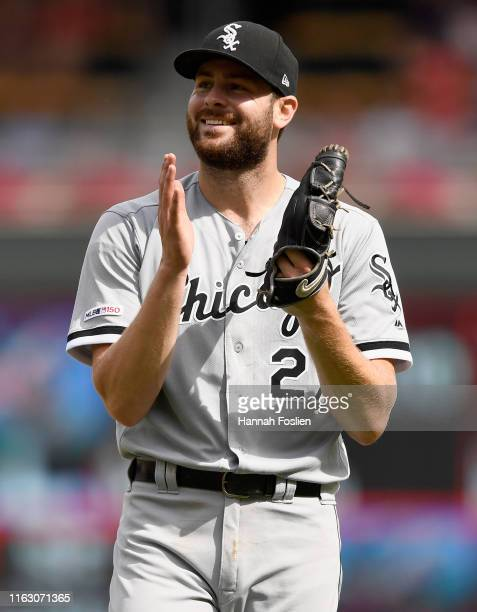 Lucas Giolito of the Chicago White Sox smiles after pitching a complete game against the Minnesota Twins on August 21, 2019 at Target Field in...