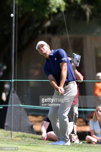 Lucas Glover chips up to inches of the cup on the 5th hole during the third round of the Valspar Championship on March 23 at Westin...