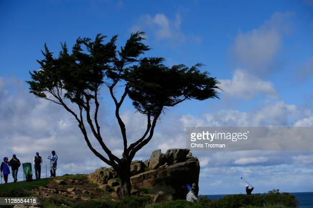 Lucas Glover of the United States plays his shot from the 16th tee during the second round of the ATT Pebble Beach ProAm at Monterey Peninsula...