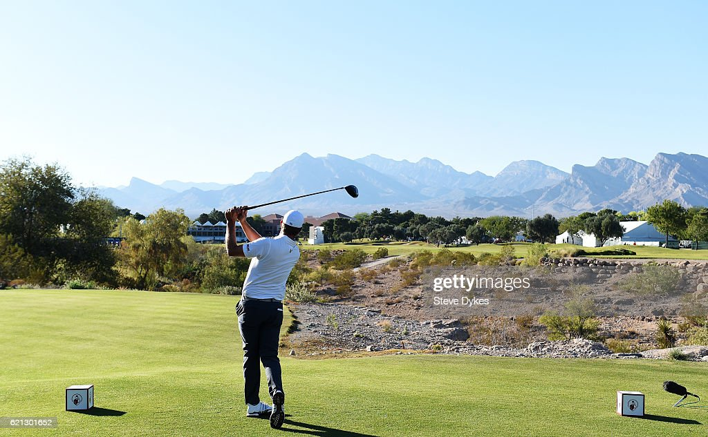 Lucas Glover of the United States plays his shot from the 18th tee during the third round of the Shriners Hospitals For Children Open on November 5, 2016 in Las Vegas, Nevada.